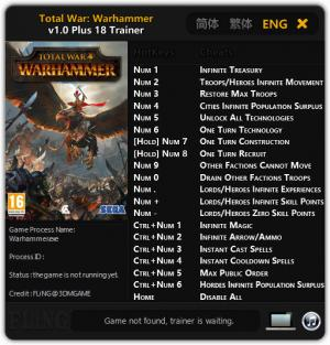 Total War: Warhammer Trainer +18 v1.0 {FLiNG}