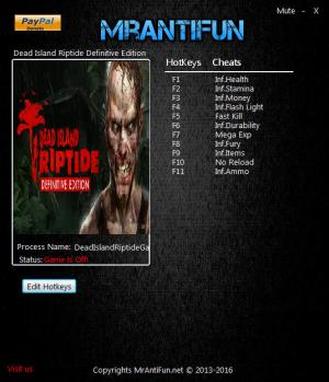 Dead Island: Riptide Definitive Edition Trainer +11 v1.0 {MrAntiFun}