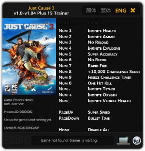 Just Cause 3 Trainer +15 v1.0 - 1.04 {FLiNG}