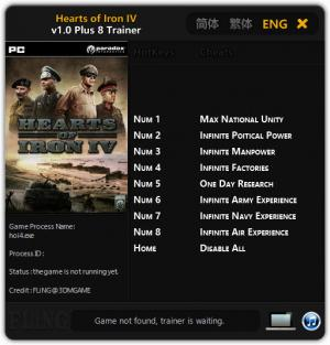 Hearts of Iron 4 Trainer +8 v1.0 {FLiNG}
