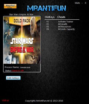 Star Wars: Empire at War Trainer +3 v1.05.48825 {MrAntiFun}