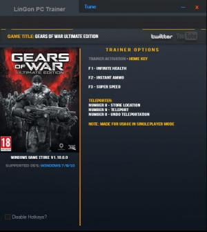 Gears of War: Ultimate Edition Trainer +5 v1.10.0.0 {LinGon}