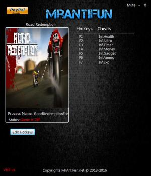 Road Redemption Trainer +7 v06.28.2016 {MrAntiFun}