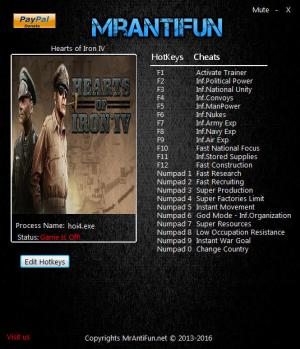 Hearts of Iron 4 Trainer +22 v1.1.0 {MrAntiFun}