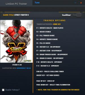 Street Fighter 5 Trainer +15 v1.04 {LinGon}
