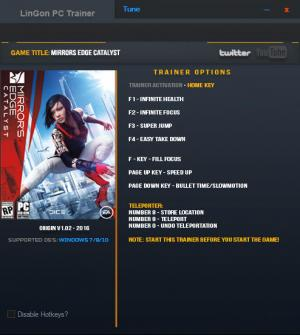 Mirror's Edge: Catalyst Trainer +9 v1.02 {LinGon}