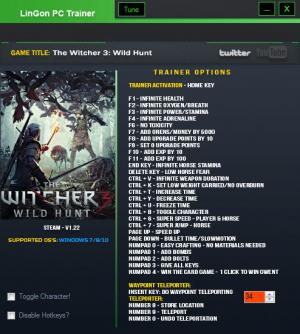 The Witcher 3: Wild Hunt Trainer +32 v1.22 {LinGon}