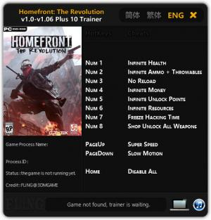Homefront: The Revolution Trainer +10 v1.0 - 1.06 {FLiNG}