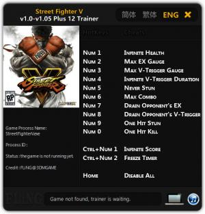 Street Fighter 5 Trainer +12 v1.0 - 1.05 {FLiNG}