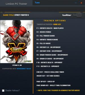Street Fighter 5 Trainer +15 v1.06 {LinGon}