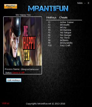 We Happy Few Trainer +9 v1.00 {MrAntiFun}