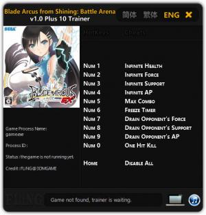 Blade Arcus from Shining: Battle Arena Trainer +10 v1.0 {FLiNG}