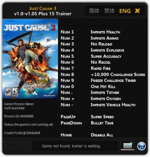 Just Cause 3 Trainer +15 v1.0 - 1.05 {FLiNG}