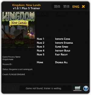 Kingdom: New Lands Trainer +5 v1.0.1 {FLiNG}