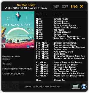 No Man's Sky Trainer +25 v1.0 - Update 2016.08.18 {FLiNG}