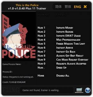 This Is the Police Trainer +11 v1.0 - 1.0.40 {FLiNG}