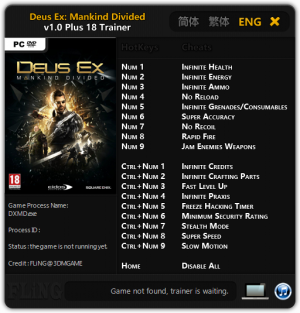 Deus Ex: Mankind Divided Trainer +18 v1.0 {FLiNG}