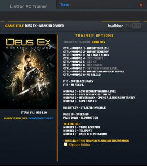 Deus Ex: Mankind Divided Trainer +20 v1.1 Build 524.10 {LinGon}