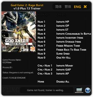 God Eater 2: Rage Burst Trainer +13 v1.0 {FLiNG}