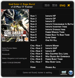 God Eater 2: Rage Burst Trainer +17 v1.0 {FLiNG}
