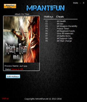 Attack on Titan Trainer +9 v1.00 {MrAntiFun}