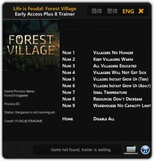 Life is Feudal: Forest Village Trainer +8 Early Access Updated 2016.09.01 {FLiNG}