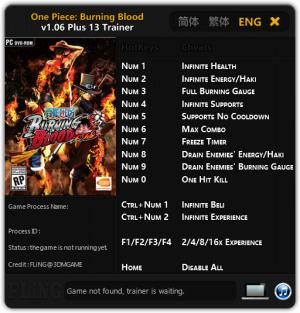 One Piece: Burning Blood Trainer +13 v1.06 {FLiNG}
