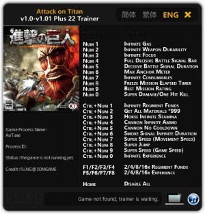 Attack on Titan Trainer +22 v1.01 {FLiNG}