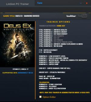 Deus Ex: Mankind Divided Trainer +20 v1.3 Build 524.17 {LinGon}