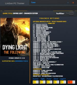 Dying Light: The Following Trainer +35 v1.12.0  {LinGon}