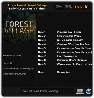 Life is Feudal: Forest Village Trainer +8 Early Access Updated 2016.09.14 {FLiNG}