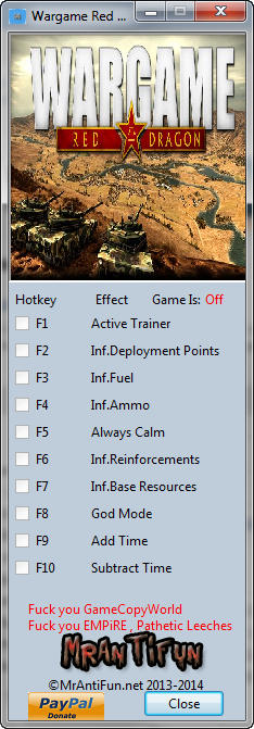 Wargame: Red Dragon Trainer  +9 v16.10.03 {MrAntiFun}