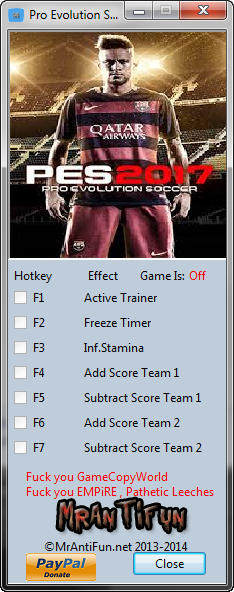 Pro Evolution Soccer 2017 Trainer +4 v1.01 {MrAntiFun}