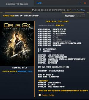 Deus Ex: Mankind Divided Trainer +20 v1.7 Build 551.7 {LinGon}