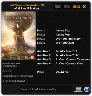 Sid Meier's Civilization 6 Trainer +8 v1.0 {FLiNG}
