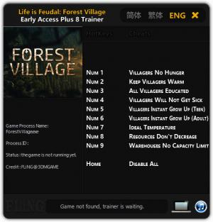 Life is Feudal: Forest Village Trainer +8 Early Access Updated 2016.10.27 {FLiNG}