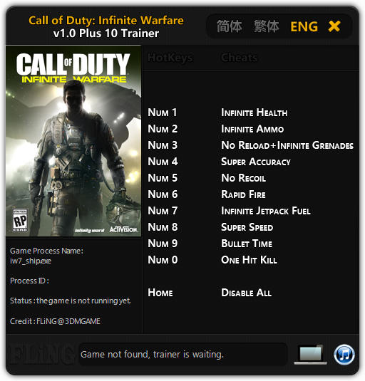 Call of Duty: Infinite Warfare Trainer +10 v1.0 FLiNG - download ...