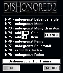 Dishonored 2 Trainer +9 v1.0 {dR.oLLe}