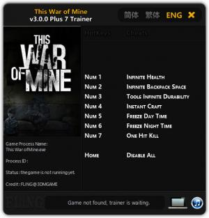 This War of Mine Trainer +7 v3.0.0 {FLiNG}