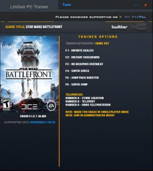 Star Wars: Battlefront 2015 Trainer +8 v1.0.7.36460 {LinGon}