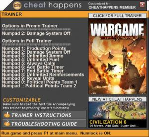 Wargame: Red Dragon Trainer +11 v12.08.2016 (Cheat Happens)