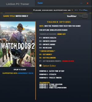 Watch Dogs 2 Trainer for PC game version 1.6 Update 11.12.2016