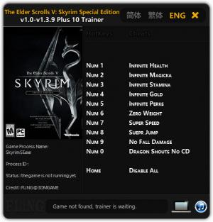 The Elder Scrolls 5: Skyrim Special Edition Trainer +10 v1.0 - 1.3.9 {FLiNG}
