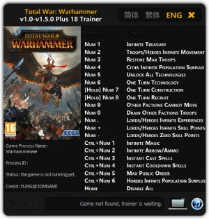 Total War: Warhammer Trainer +18 v1.0 - 1.5.0 {FLiNG}