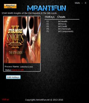 Star Wars: Knights of the Old Republic 2 – The Sith Lords Trainer +5 v12.13.2016 {MrAntiFun}