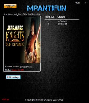 Star Wars: Knights of the Old Republic Trainer +2 v1.0.3.0 {MrAntiFun}