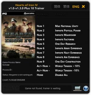 Hearts of Iron 4 Trainer for PC game version 1.0 - 1.3.0