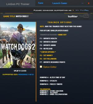 Watch Dogs 2 Trainer +11 v1.8 {LinGon}