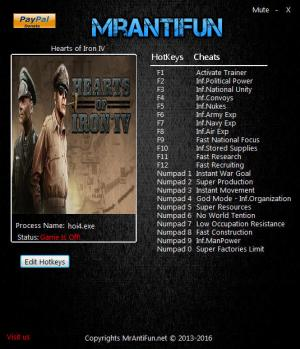 Hearts of Iron 4 Trainer +22 v1.3.0 {MrAntiFun}