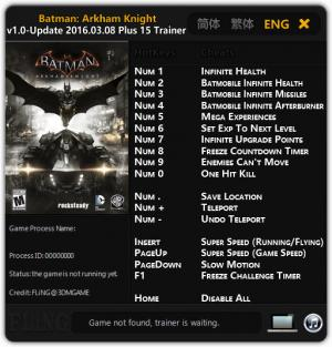 Batman: Arkham Knight Trainer +15 v1.0 Update 08.03.2016 {FLiNG}